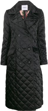 diamond quilt double-breasted coat - Black