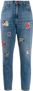 beaded-patch high-rise slim jeans - Blue