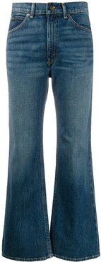 cropped flared denim jeans - Blue