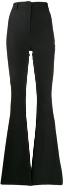 high-waisted flared trousers - Black
