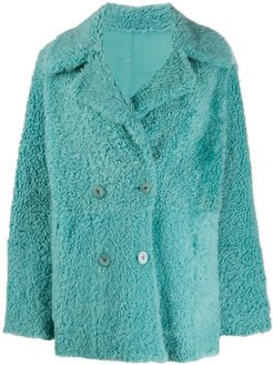 double-breasted reversible coat - Blue