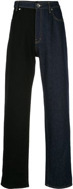 two-tone straight jeans - Blue