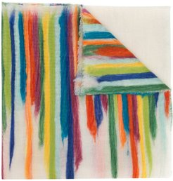 rainbow stripe print scarf - White