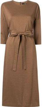 bow fastened midi dress - Brown