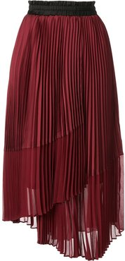 pleated asymmetric skirt - Red