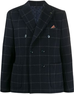 fitted double-breasted blazer - Blue