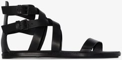 black flat leather gladiator sandals