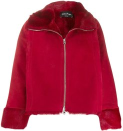 zipped shearling jacket - Red