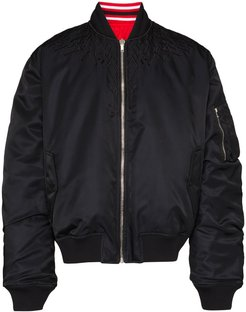 wings embroidered reversible bomber jacket - Black