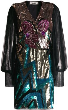 sequin embroidered dress - Blue