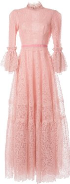 flared lace dress - PINK