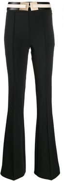 flared belted trousers - Black