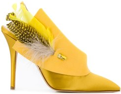 Joan feather-embellished pumps - Yellow