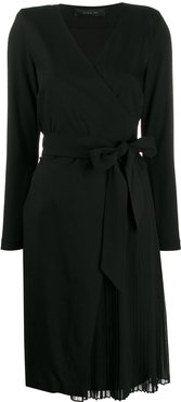 long-sleeve belted dress - Black