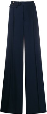 belted wide leg trousers - Blue