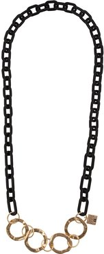 two-tone chain necklace - Black