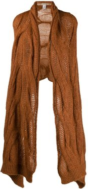 oversized cable knit scarf - Brown