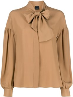 pussy bow blouse - Brown