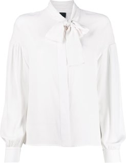 pussy-bow loose blouse - White