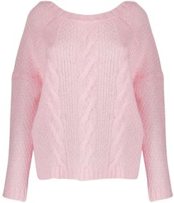 crew-neck cable knit sweater - PINK