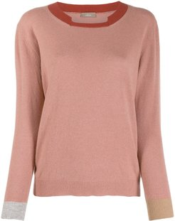 colour blocked knitted top - Pink