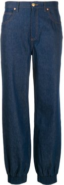 gathered ankle jeans - Blue