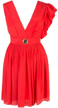 asymmetric-shoulder mini dress - Red