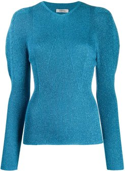metallic long sleeve top - Blue