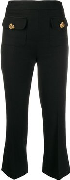 cropped crepe trousers - Black