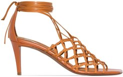 70mm woven cage sandals - Brown