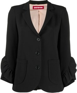 ruffled sleeve blazer - Black