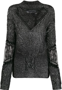 lace detailed cable knit jumper - Black