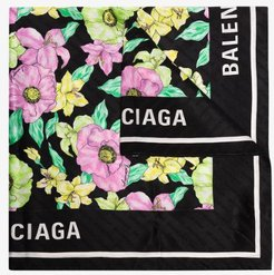 multicoloured floral logo print silk scarf