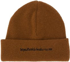 signature embroidered beanie - Brown