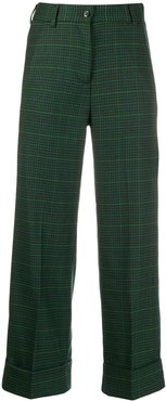 cropped checked trousers - Green