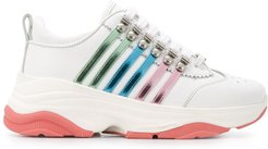 multi-striped low-top chunky trainers - White