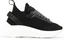 chunky-sole knitted trainers - Black
