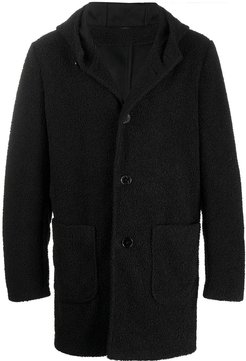 shearling single breasted coat - Black