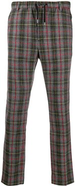 check pattern regular trousers - Grey