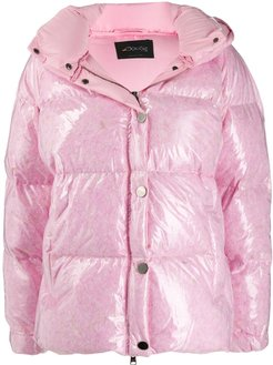 patent hooded padded coat - PINK