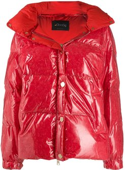 patent hooded padded coat - Red