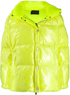patent hooded padded jacket - Yellow