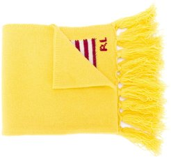 logo embroidered fringed scarf - Yellow