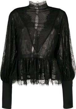 lace trim sheer blouse - Black