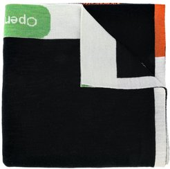 knitted patterned scarf - Black