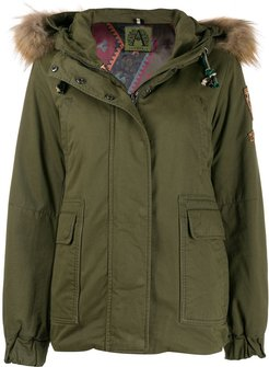 hooded parka coat - Green