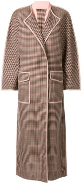 checked cape coat - Brown