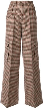 check print cargo trousers - Brown