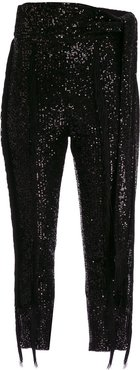 PANT WITH FRINGES - Black