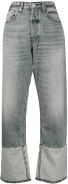 high-waisted straight jeans - Grey